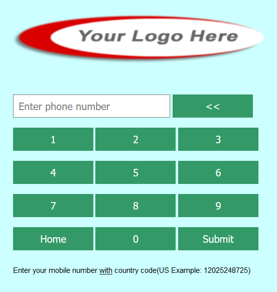 Enter your cell number form